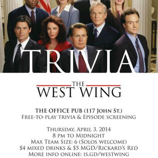 West Wing Trivia Night at The Office Pub - Events - Universe